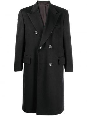Z kaszmiru czarny długi płaszcz z długimi rękawami Kiton