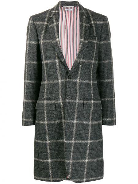 Шерстяное длинное пальто в клетку на пуговицах Thom Browne