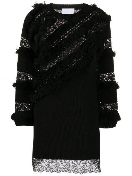 Трикотажное кружевное черное платье макси Koché