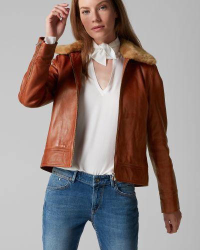 Коричневая классическая кожаная куртка с воротником из искусственного меха Marc O' Polo