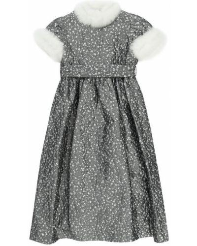 Платье макси серое с завышенной талией Il Gufo