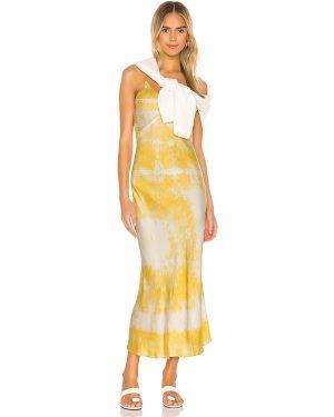 Żółta satynowa sukienka z haftem Dannijo