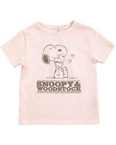 Розовая футболка с вырезом круглая Little Marc Jacobs