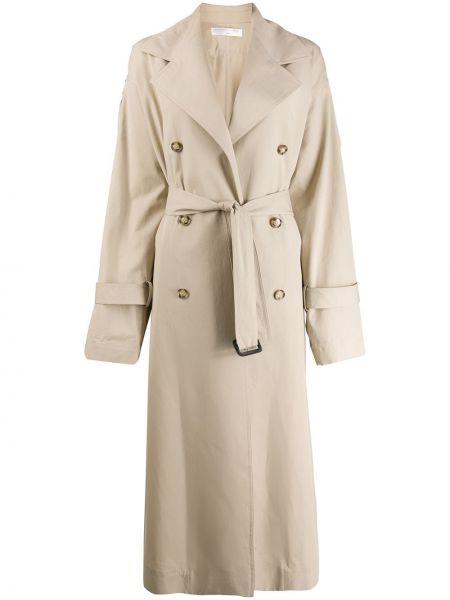 Długi płaszcz zapinane na guziki z paskiem Victoria Beckham
