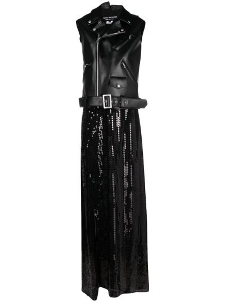 Черное платье без рукавов с пайетками Junya Watanabe
