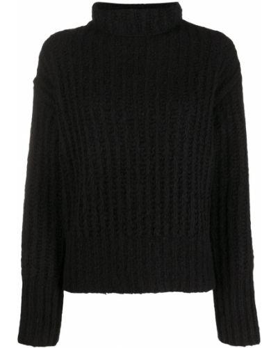 С рукавами шерстяной черный вязаный джемпер с высоким воротником Sminfinity