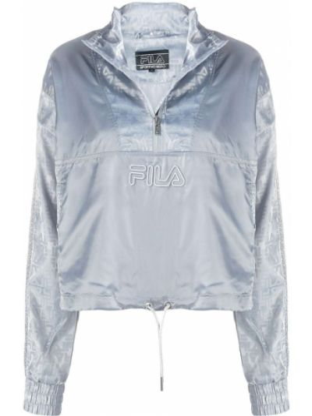 Серебряная спортивная куртка с вышивкой на молнии с воротником Fila