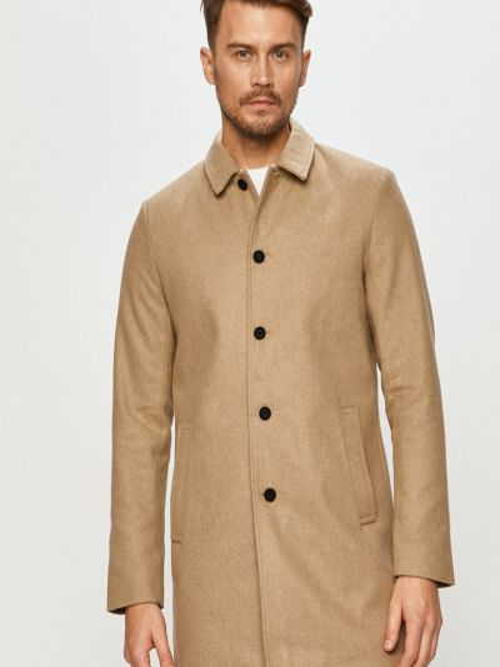 С рукавами шерстяное бежевое пальто Only & Sons