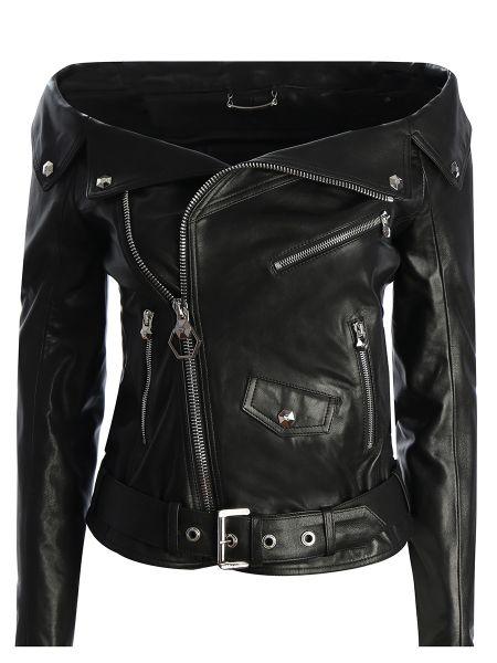Черная кожаная куртка байкерская на молнии с открытыми плечами Philipp Plein