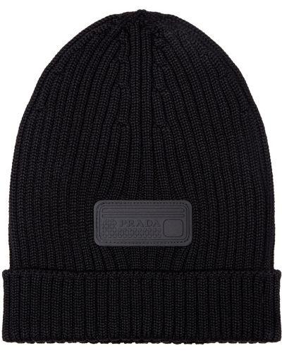 Шерстяная черная шапка в рубчик с отворотом Prada