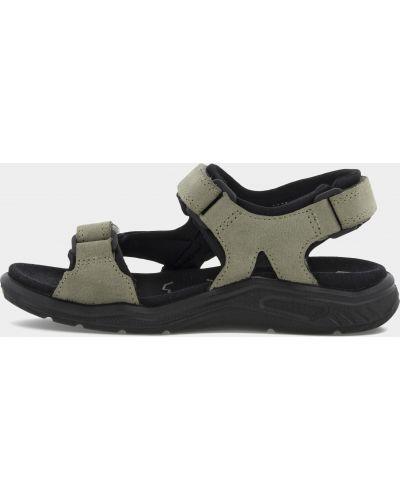 Серые сандалии на липучках из нубука Ecco