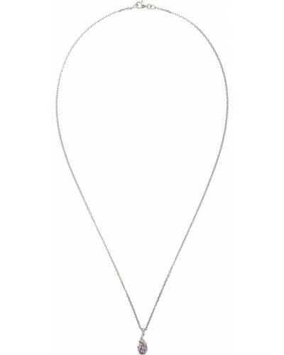 Fioletowy naszyjnik łańcuch srebrny ametyst Alan Crocetti