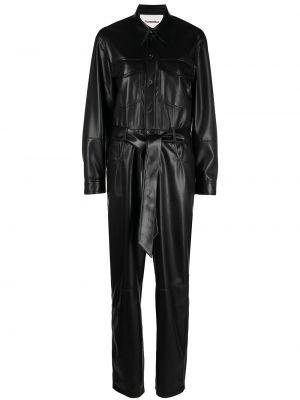 Кожаный комбинезон - черный Nanushka