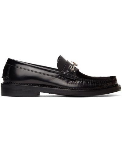 Черные кожаные лоферы на каблуке Versace