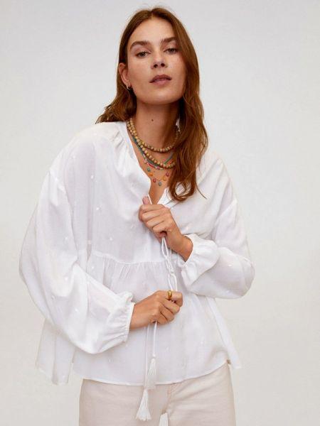 Блузка с длинным рукавом бирюзовая весенний Mango