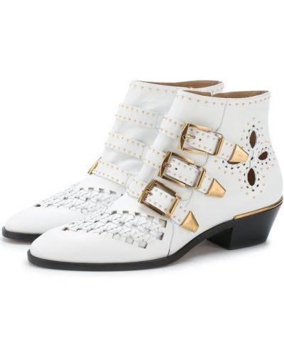 Белые ботинки с перфорацией Chloé