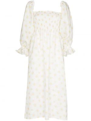 Biała sukienka midi w kwiaty z printem Sleeper