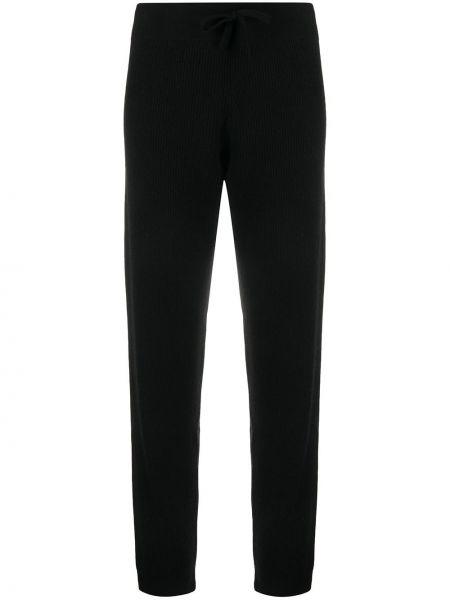 Кашемировые черные спортивные брюки с поясом в рубчик Cashmere In Love