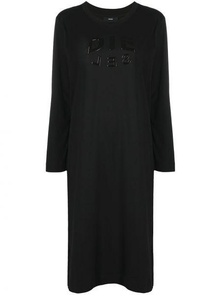 Прямое с рукавами черное платье миди Diesel
