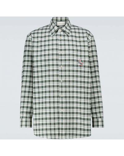 Bawełna bawełna biały koszula z haftem Gucci