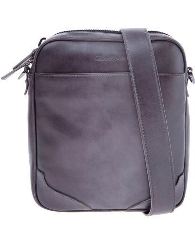 Кожаная сумка мессенджер на молнии Santoni