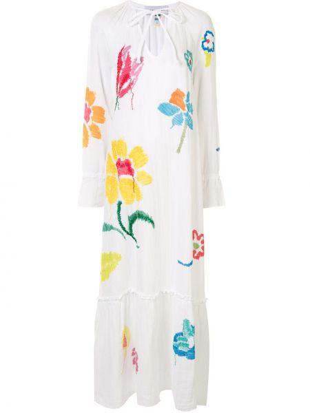 Хлопковое белое платье макси с вышивкой с завязками Mira Mikati