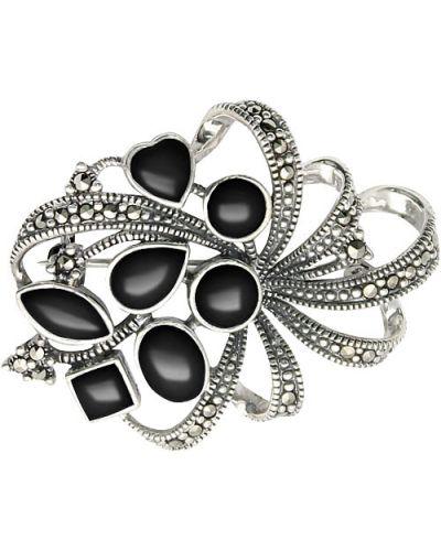 Серебряная брошь с камнями черная марказит