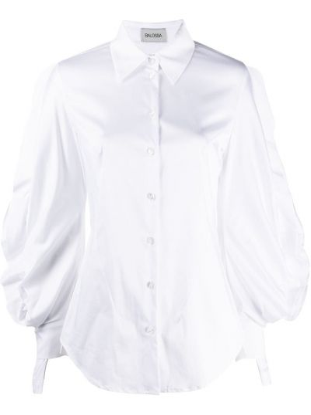 Белая рубашка с манжетами на пуговицах с оборками Balossa White Shirt