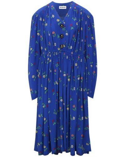 Шелковое платье - синее Balenciaga