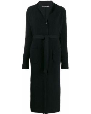 Черное пальто с поясом на пуговицах Transit
