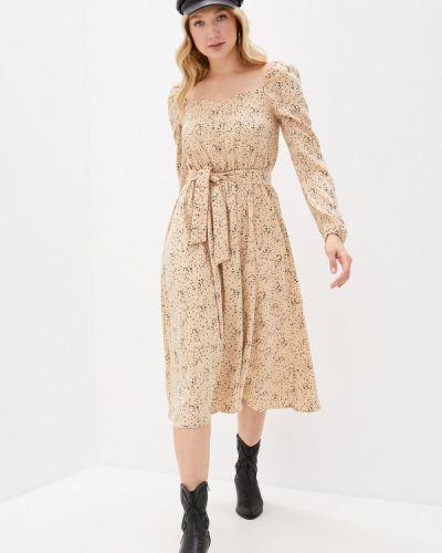 Прямое бежевое платье А-силуэта Imocean