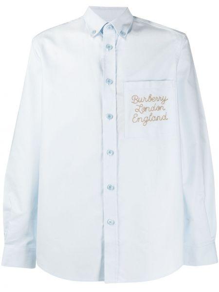 Niebieski bawełna z rękawami koszula Burberry