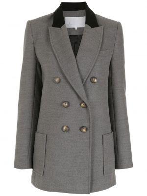 Серый классический пиджак двубортный с воротником Nk