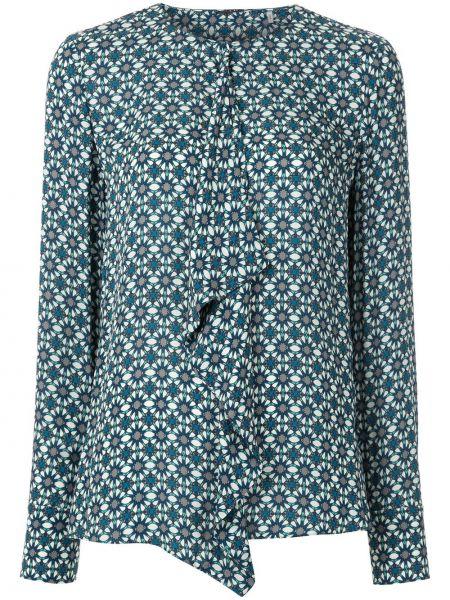 Niebieska bluzka z długimi rękawami z wiskozy Elie Tahari