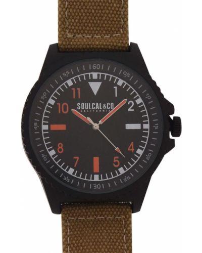 Czarny zegarek kwarcowy srebrny z klamrą Soulcal