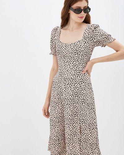 Бежевое прямое платье Zarina