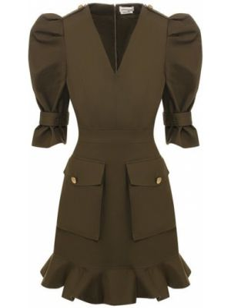 Платье мини сафари зеленый Alexander Mcqueen