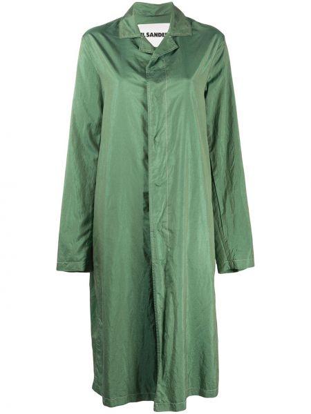 Długi płaszcz z kieszeniami zielony Jil Sander