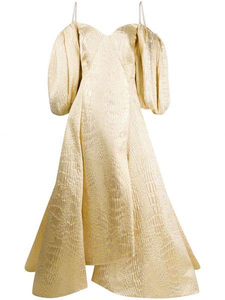 Желтое платье свободного кроя с вырезом металлическое Avaro Figlio