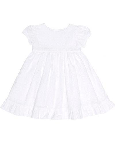 Biała sukienka z haftem bawełniana Rachel Riley