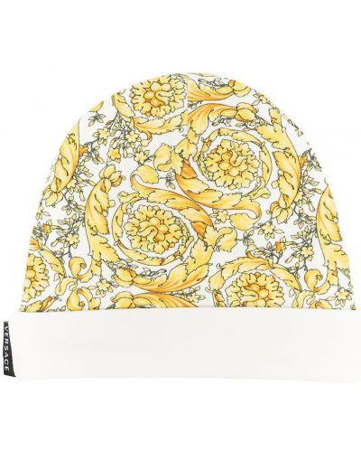 Хлопковая белая вязаная шапка бини Young Versace