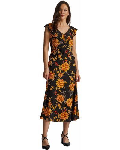 Sukienka midi w kwiaty - czarna Dorothy Perkins