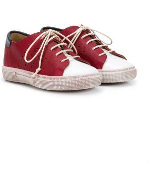 Красные кожаные кеды со вставками на шнуровке Pépé Kids