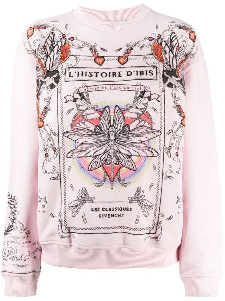 Bawełna różowy bluza z długimi rękawami z mankietami Givenchy