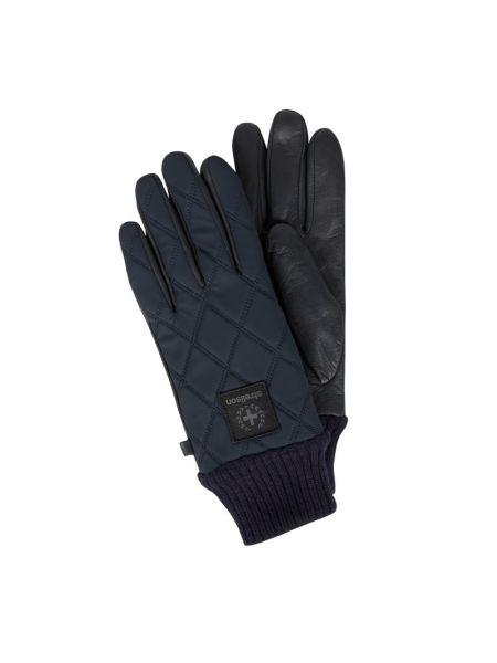 Niebieskie prążkowane rękawiczki skorzane Strellson