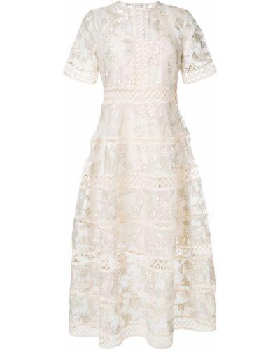 Бежевое платье с цветочным принтом Zimmermann