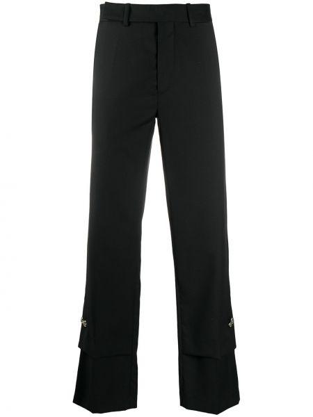 Прямые брючные черные прямые брюки с поясом Namacheko