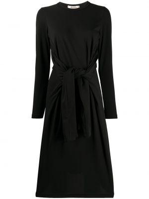 Платье с поясом трапеция черное Comme Des Garçons