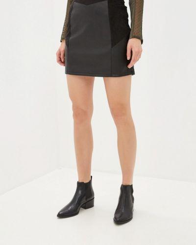 Кожаная юбка черная Naf Naf