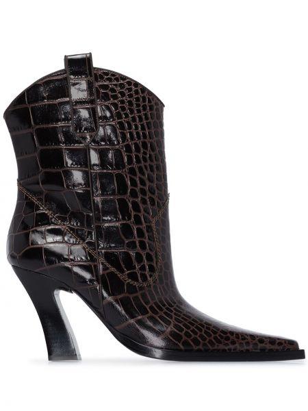 Коричневые кожаные ботинки на каблуке Tom Ford